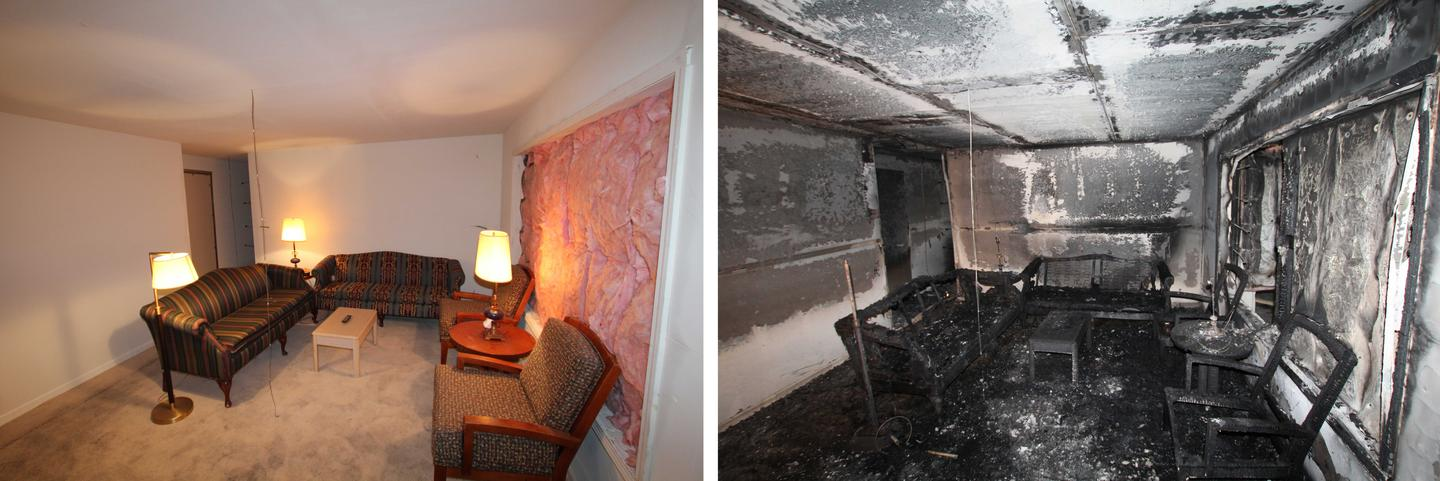Before and after shots of the interior of the test home, which was intentionally set alight as part of Underwriters Laboratories experiments