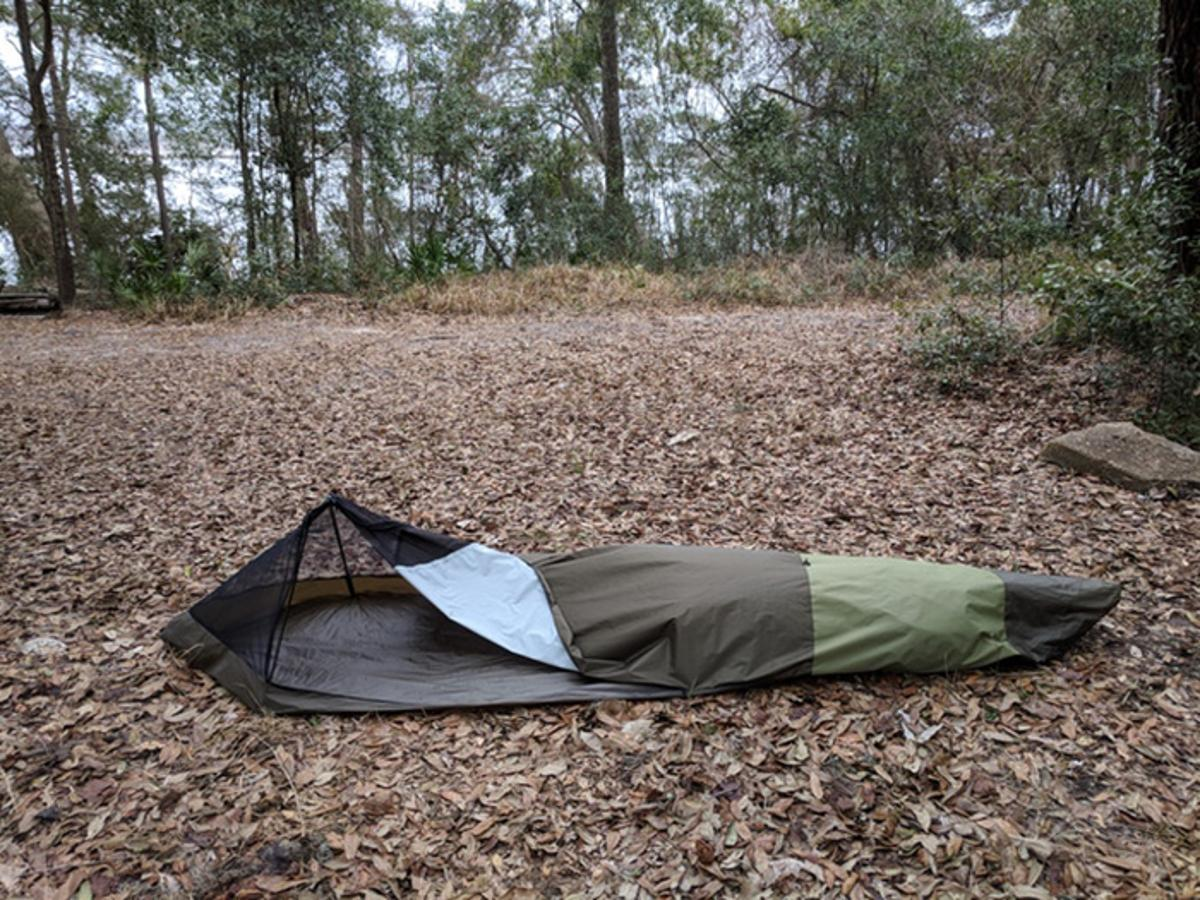 When it comes time to setup camp, the BivyPack's carbon fiber frame slides out and expands the bivy as it goes
