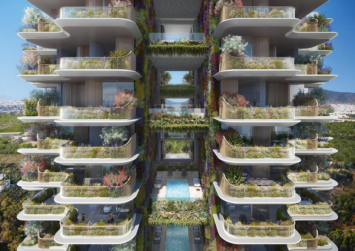 Marina Tower's exterior will be enlivened by large amounts of greenery