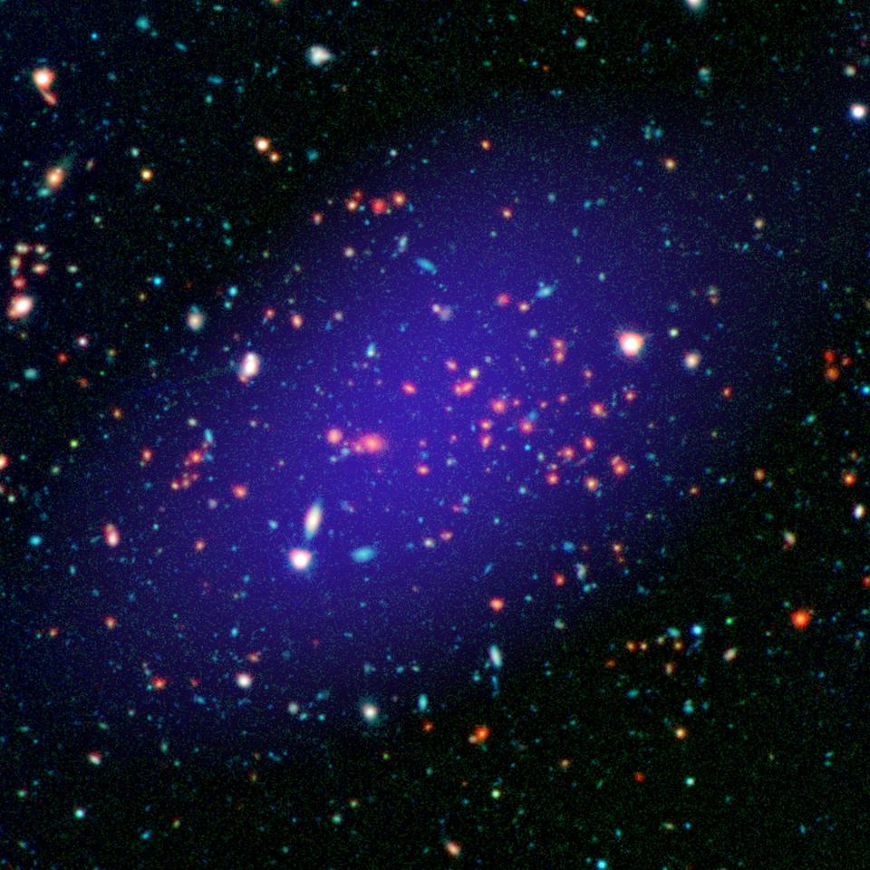 Image of the galaxy cluster MOO J1142+1527 spanning multiple wavelengths, comprised of images captured by orbital and Earth-based observatories