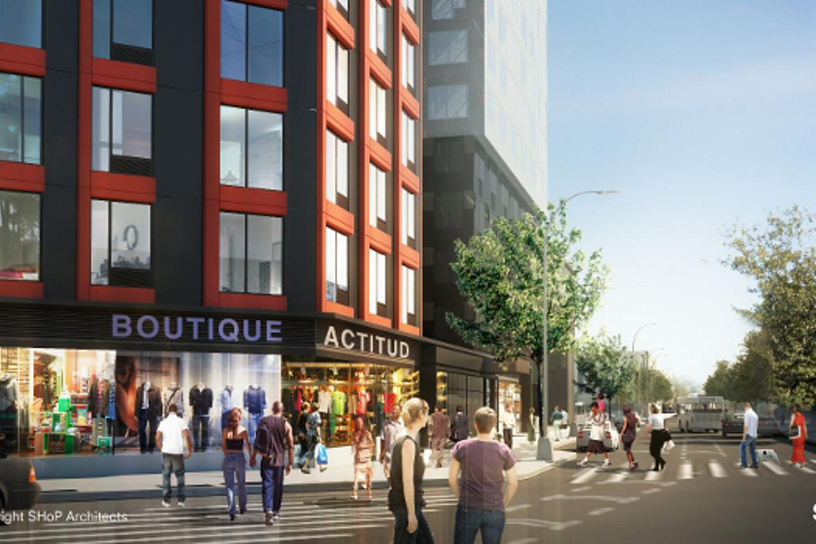 B2, located at the intersection of Dean Street and Flatbush Avenue, is the first residential tower of the Atlantic Yards development in Downtown Brooklyn (Image: SHoP)