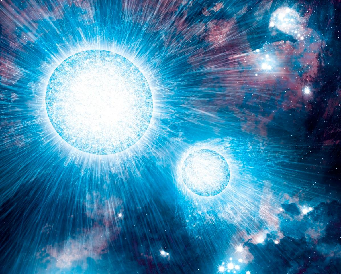 Colliding stellar winds release enormous amounts of energy