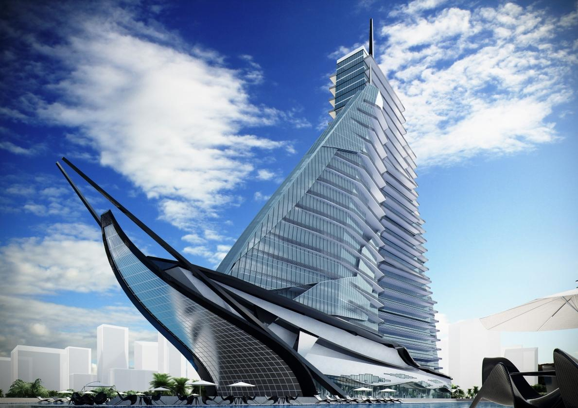 The building comprises four towers which resemble sails sat aboard a ship-like base (Image: Vasily Klyukin)