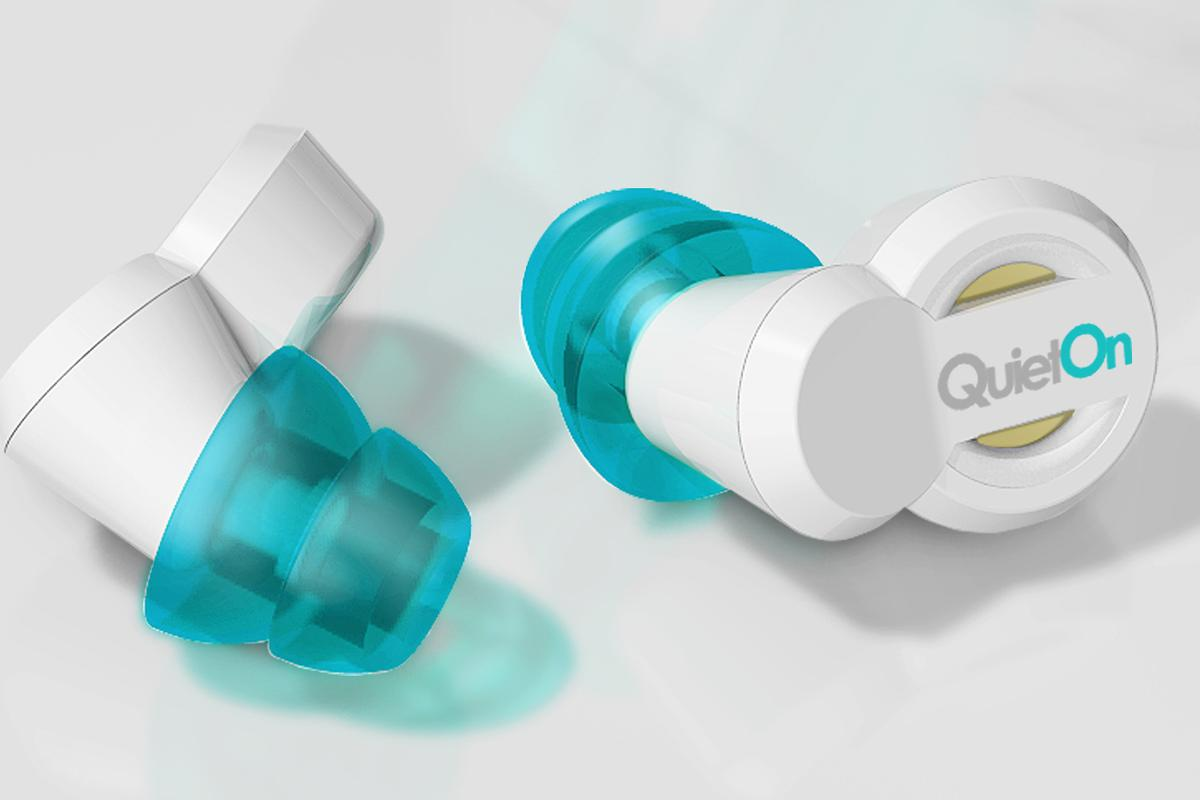 The QuietOn earplugs use microphones to capture external sound and use speakers to produce phase-shifted sound that cancels out the external sound