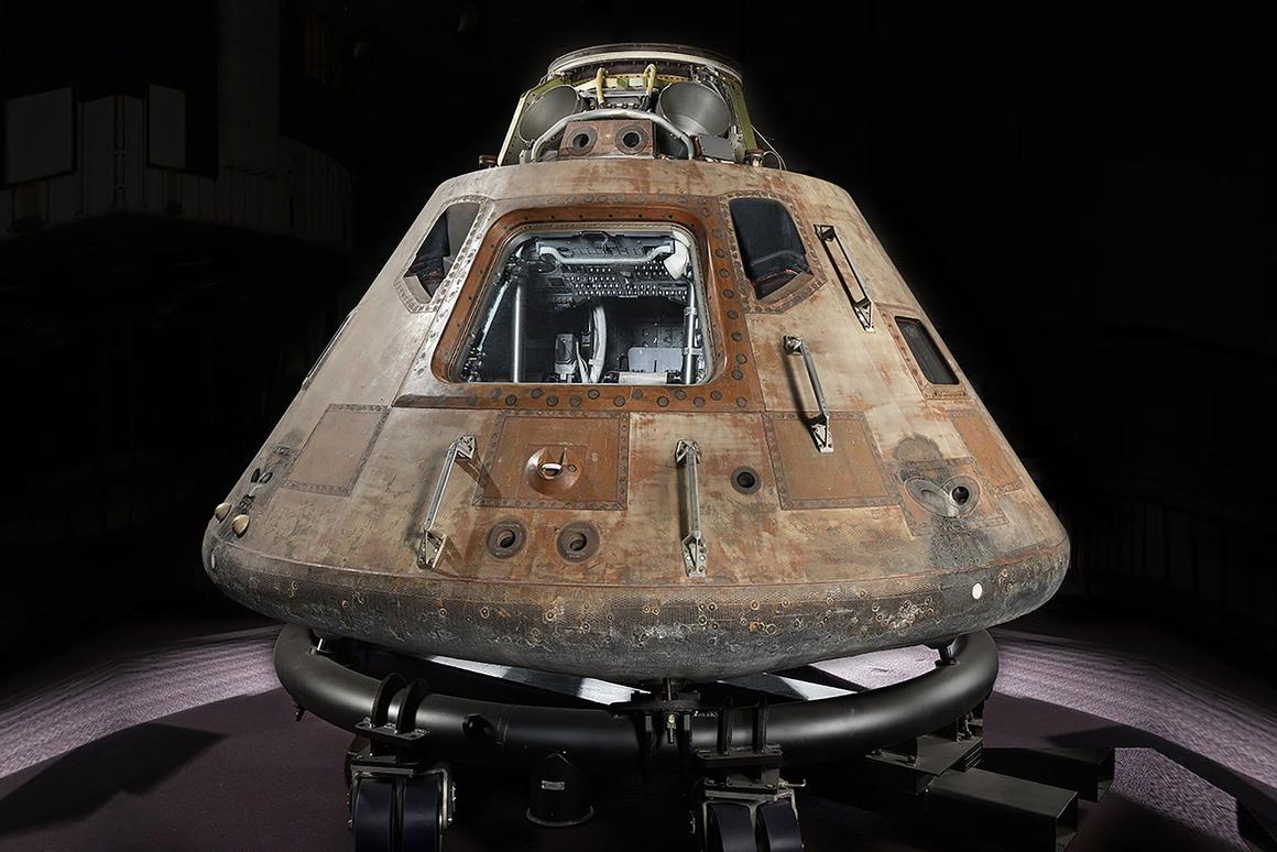 The Apollo 11 command module Columbia, shown here on a temporary cradle, which is set for a tour of the US