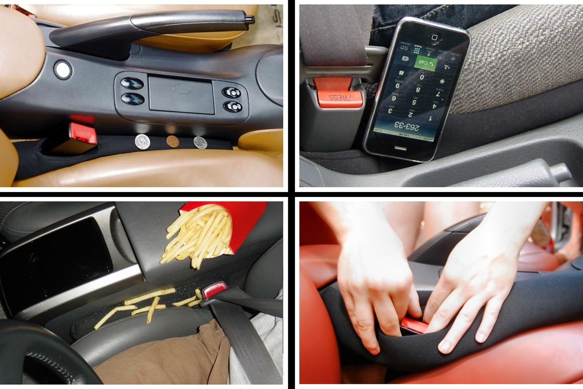 The Drop Stop is designed to keep objects from falling into the gap between the side of a car's seat cushion and the center console
