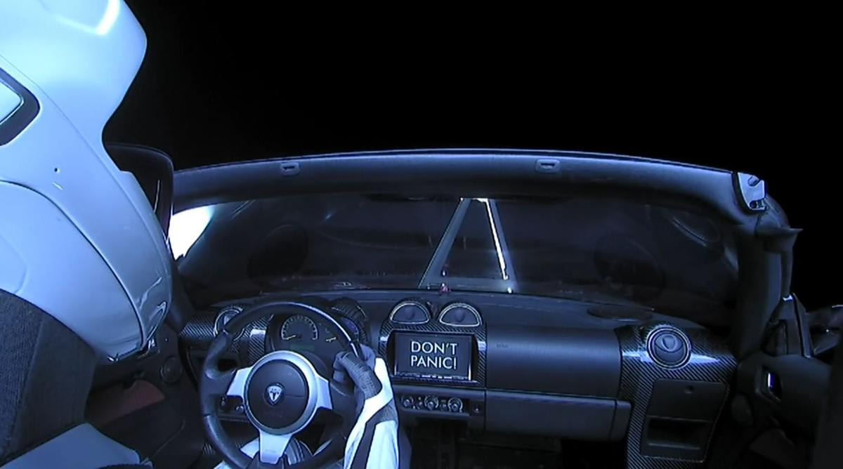 Backseat view of the Roadster in space