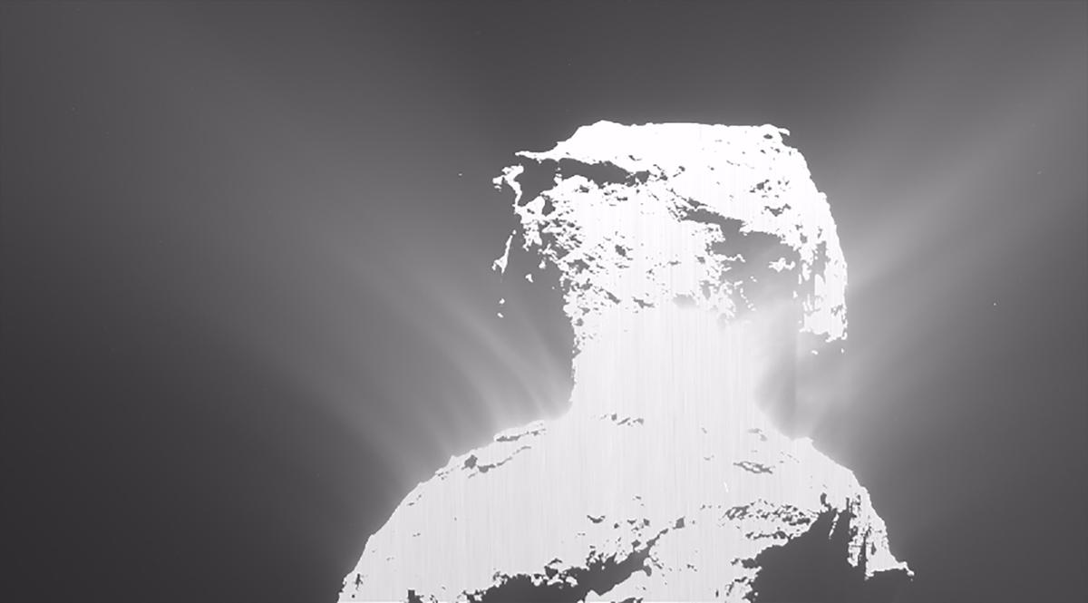 Image of 67P captured with Rosetta's OSIRIS wide-angle camera during the outburst of activity on the 19th of February