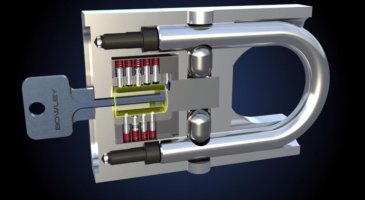 A cutaway view of the Bowley padlock
