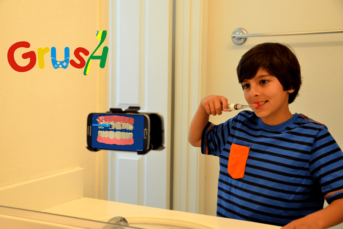 The Grush system is designed to make brushing your teeth more enjoyable by incorporating video games into the process