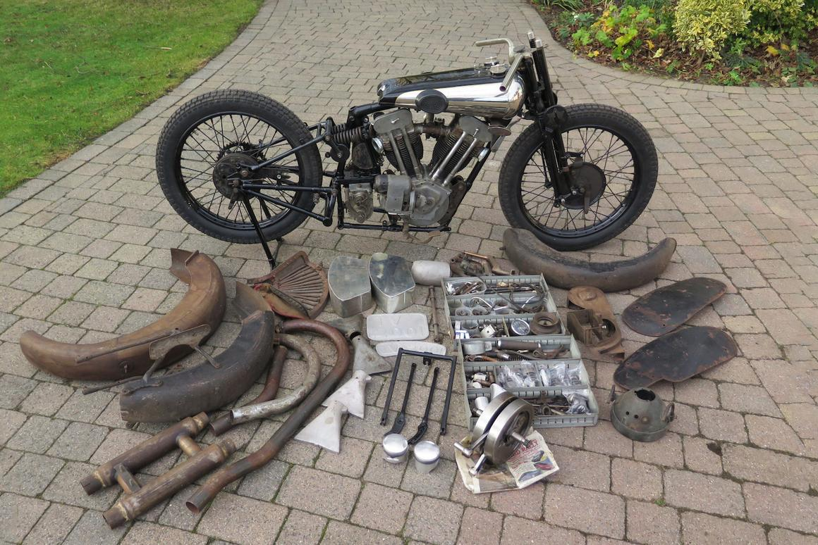 This1930 Brough Superior SS100 basketcase seta new world auction record of £425,500 ($561,556)for themarqueatH&H Classics National Motorcycle Museum Salein the United Kingdom on March 2, 2019.