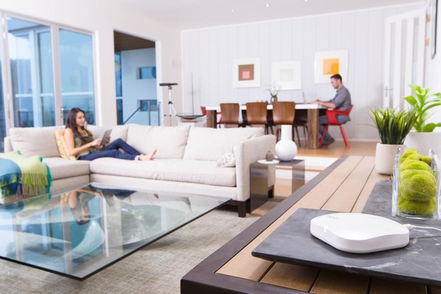 """The Eero Wi-Fi system connects to your home router and creates a wireless mesh network for """"fast, reliable Wi-Fi"""" at home"""