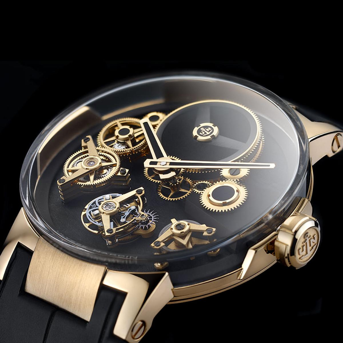 TheUlysses Nardin Executive Tourbillon Free Wheel has a movement where the components seem to operate without touching one another