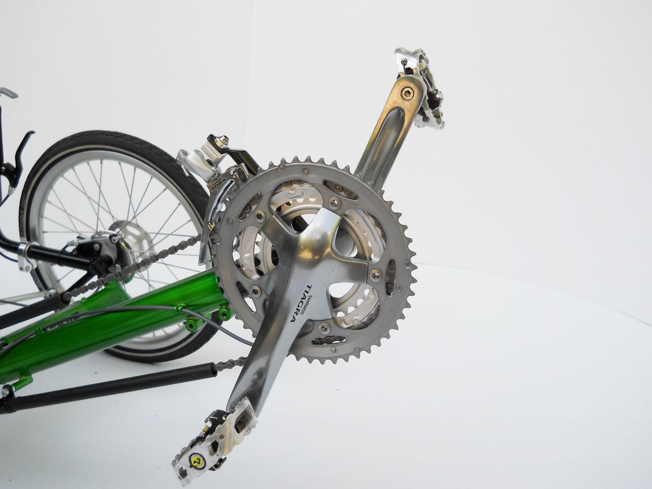 Evolve Trikes is still experimenting with different components for its folding recumbent trike