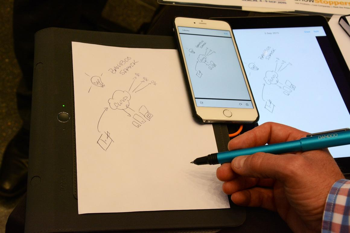 Pressing a button to the left of the folio wirelessly transfers the notes or doodles on the paper to a companion app