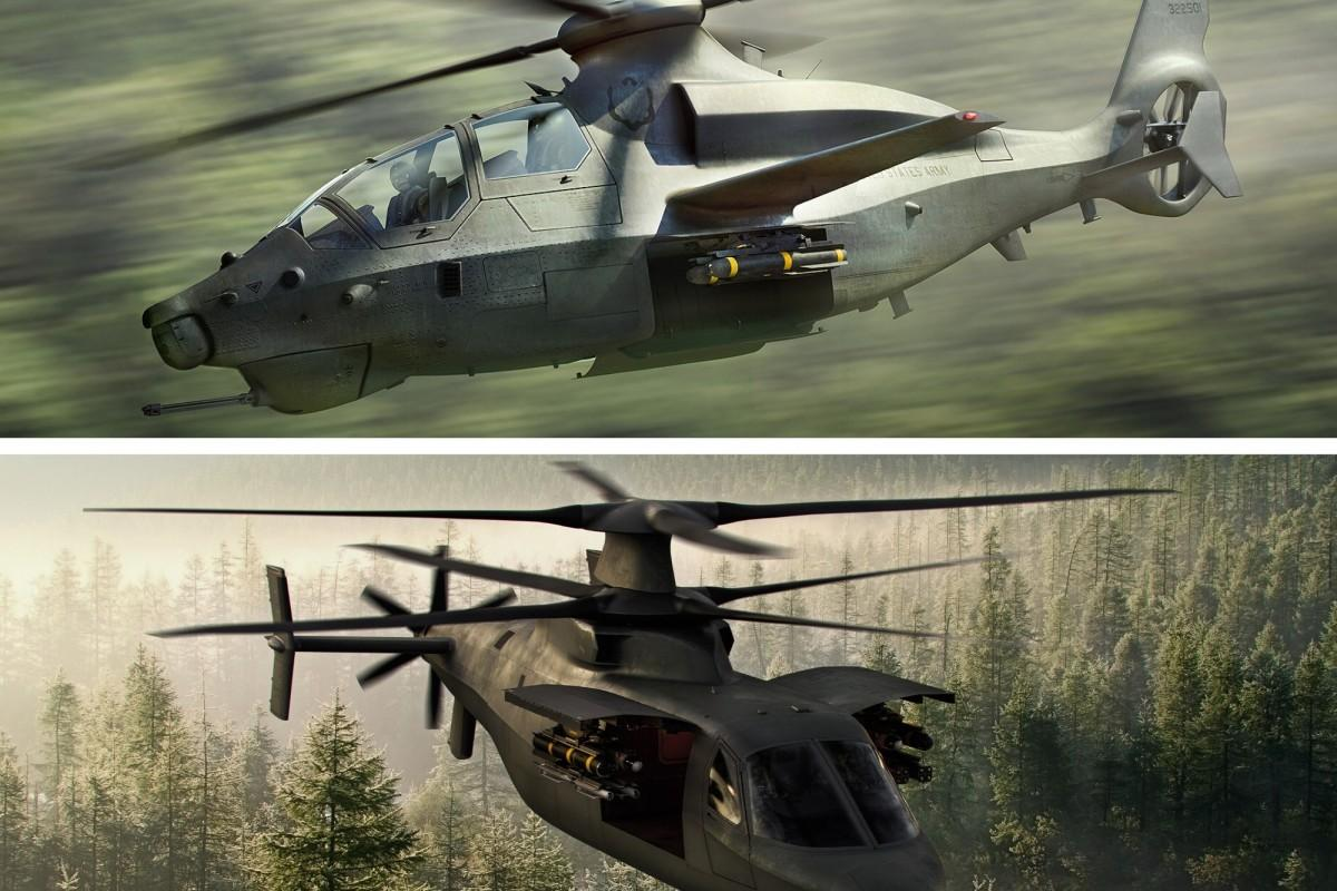 Artist's concepts of the Bell Helicopter Textron's 360 Invictus (top) and Sikorsky Aircraft's Raider X