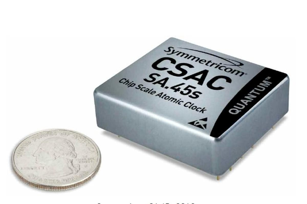 The Chip Scale Atomic Clock is a matchbox-sized atomic clock, that uses one one-hundredth the power of its conventional counterparts(Photo: Symmetricom Inc.)