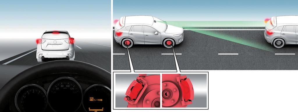 The the SCBS system's laser detects a potential collision, it reduces the brake rotor travel distance