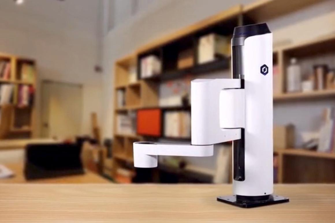 Dobot M1 is a consumer-level robot arm, with interchangeable tool heads for small business use inworkshops and warehouses