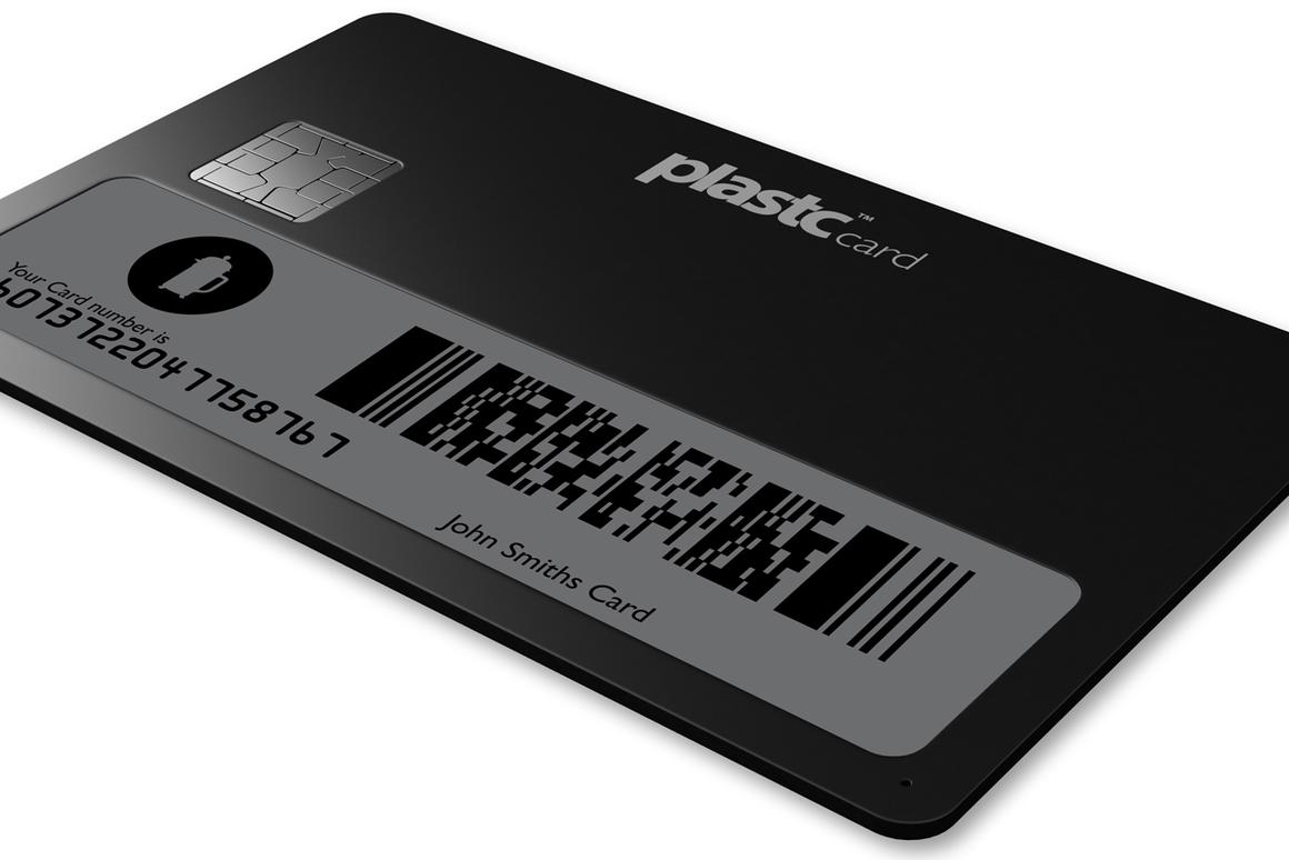 The Plastc Card features an e-ink screen and a rewritable magnetic strip