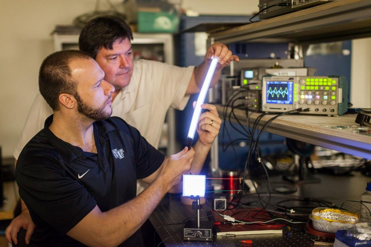 David Carroll (right) and graduate student Greg Smith, with a couple of the FIPEL lights