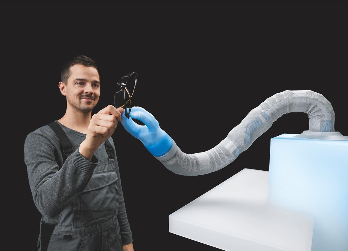 Festo's BionicSoftArm is a pneumatic robot arm that works on the same principles as the BionicSoftHand