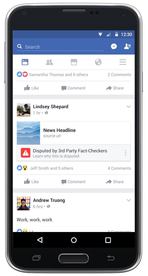 An example of how Facebook proposed to flag disputed articles