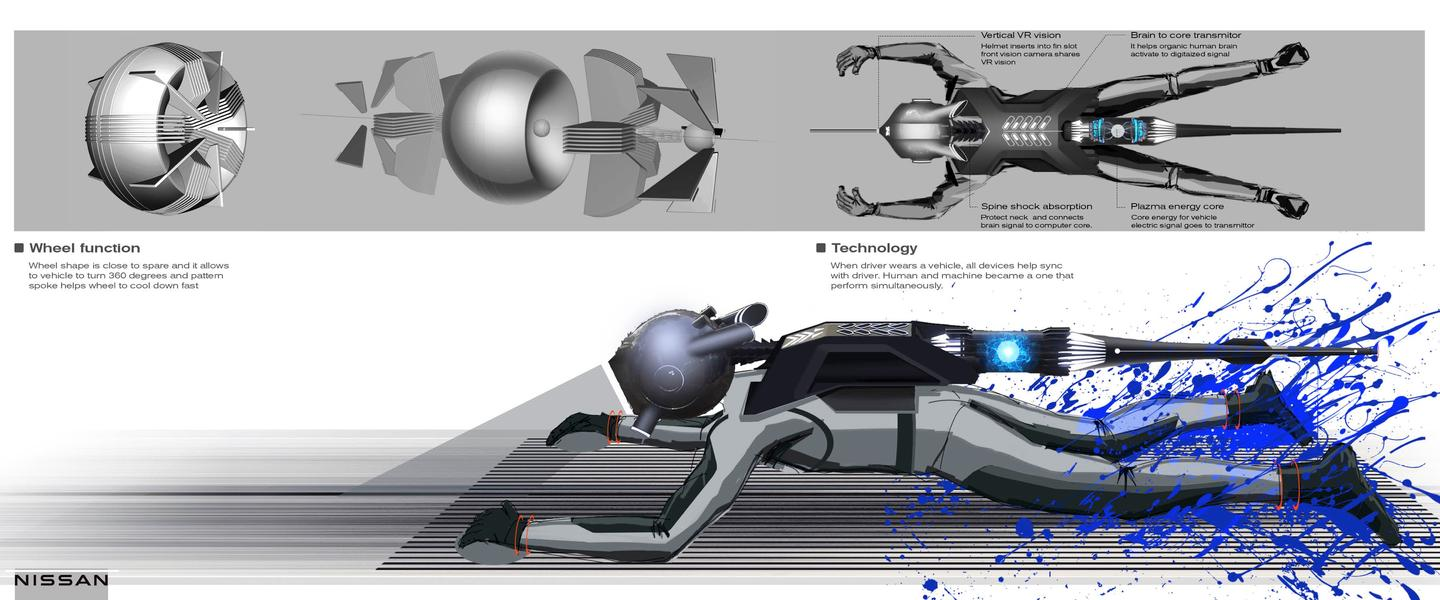 The helmet and backpack provide a neural interface through to the energy core