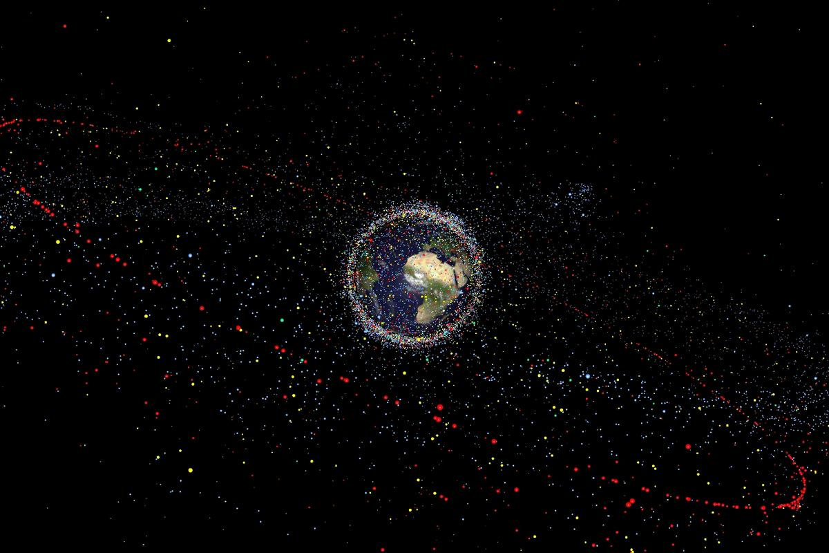 A graphic depicting the distribution of orbital debris around Earth