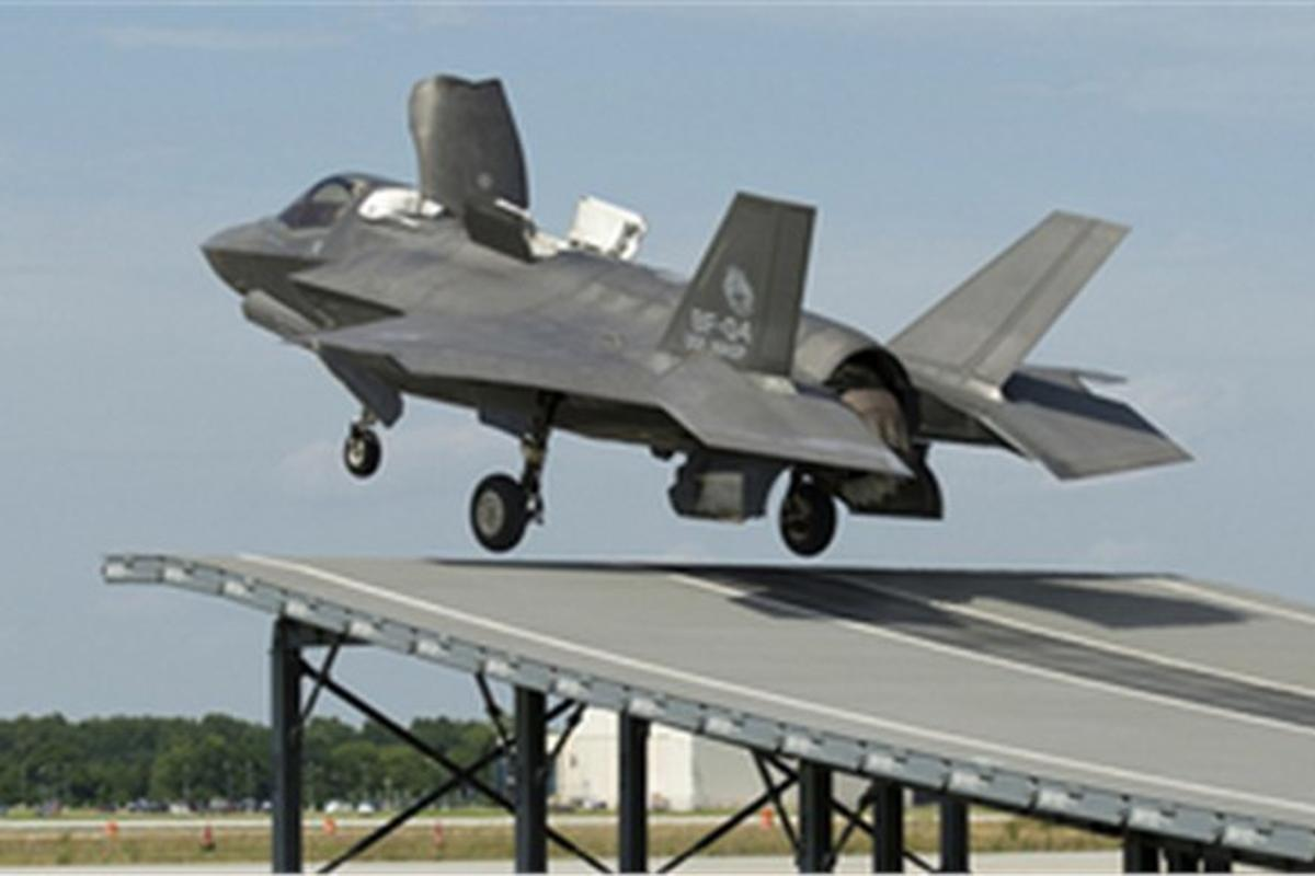 The F-35B test took place on a mock-up ski jump at Naval Air Station in Maryland on June 19