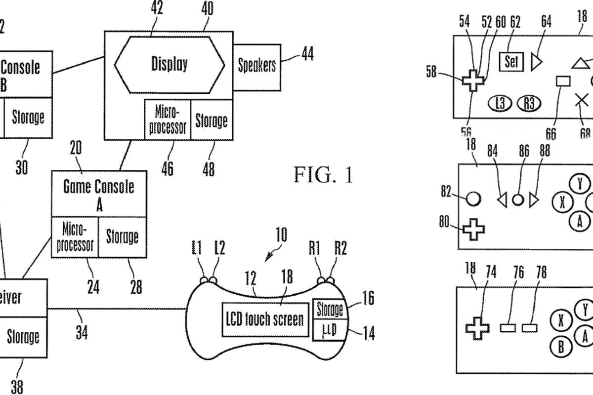 The patent application shows the controller and console setup (left) and different button configurations for the LCD touch screen (right)