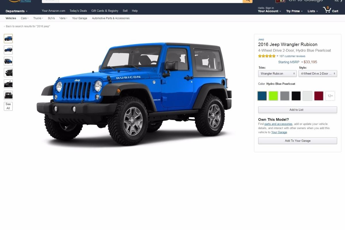 Using Amazon Vehicles, it is possible to search for specific vehicles, or to browse by year, make, model, customer rating, fuel efficiency and towing capacity