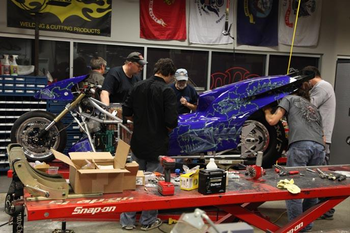 The Orange County Choppers team assembling the 2010 version of the Lawless Electric Rocket