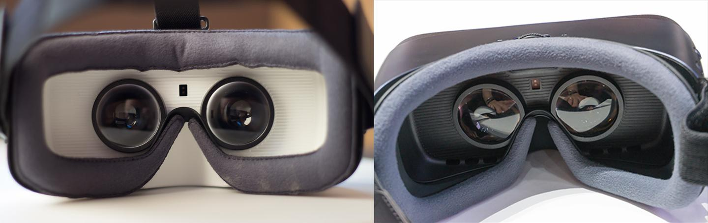Older Gear VR with white interior on the left, next to new Gear VR with dark interior and wider-stretched face pad