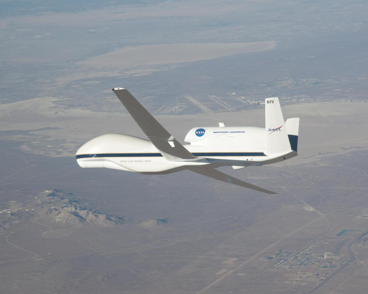 Cruising at 45,000 to 65,000 feet, the specially equipped Global Hawk UAV enables scientists to retrieve data about greenhouse gasses and ozone depleting substances (Photo: NASA/Dryden/Carla Thomas)