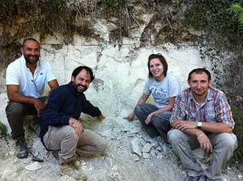 The research team at an outcrop in the Sulmona basin of the Apennine Mountains where the magnetic records were located (Photo: Paul Renne/UC Berkeley)