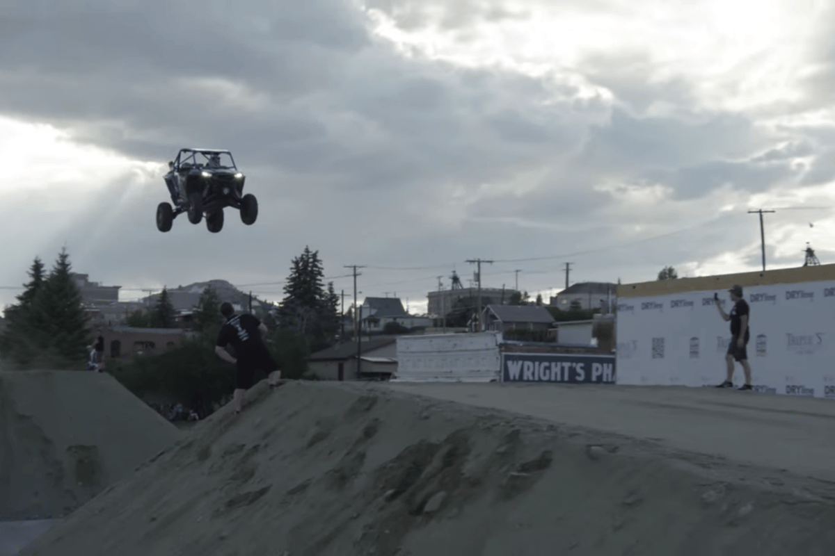 Tanner Godfrey in flight in a Polaris RZR UTV