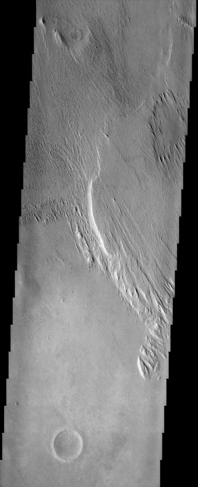 Image of the Medusae Fossae Formation as captured by the Mars Odyssey spacecraft in 2002