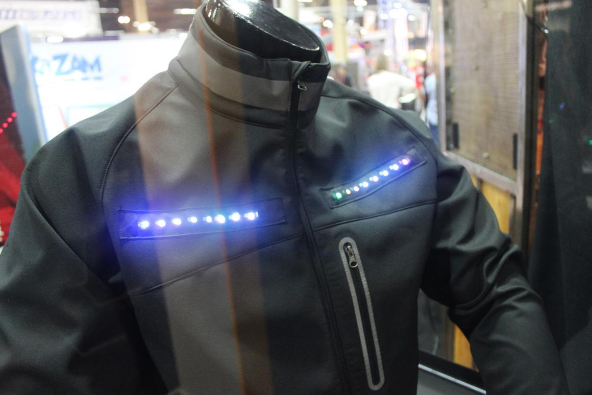 The Lumenus smart jacket is embedded with LEDs that display the cyclist's turning intentions to other road users