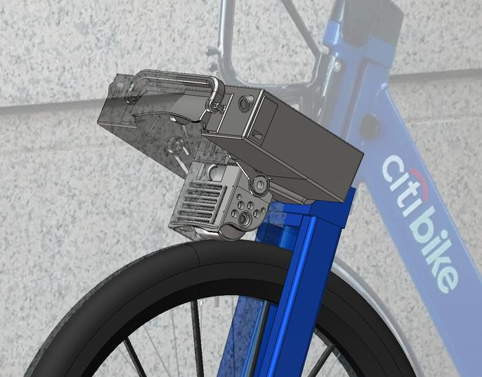 Swinging out of the case and into position, the motor assembly then uses a urethane drive belt to transfer 1.0 hp to the bike's tyre, enabling an 18 mph (29 km/h) top speed without the need to peddle