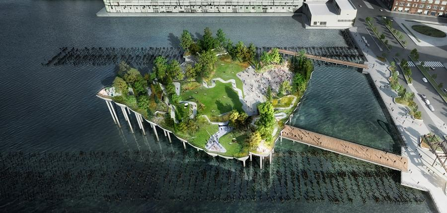 Pier55 will new park public in New York built on the Hudson River