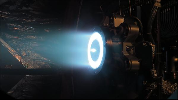 Aerojet Rocketdyne's Advanced Electric Propulsion System thruster demonstrates full power operation at the Jet Propulsion Laboratory in Pasadena, California