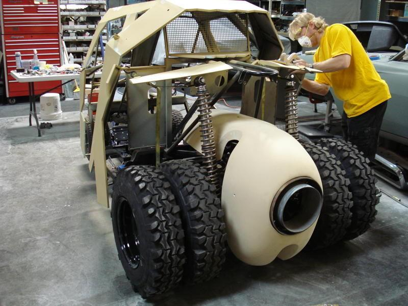 Fake exhaust and customized cowl were hand built specifically for the mini Tumbler