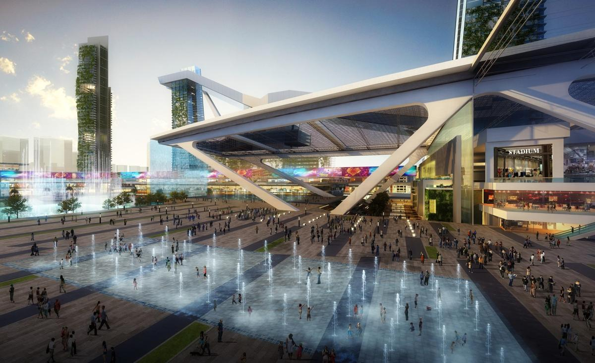 A civic plaza will be able to host up to 60,000 people and will be home to a floating stage, a waterfall and what is claimed will be the the largest dancing fountain in the world