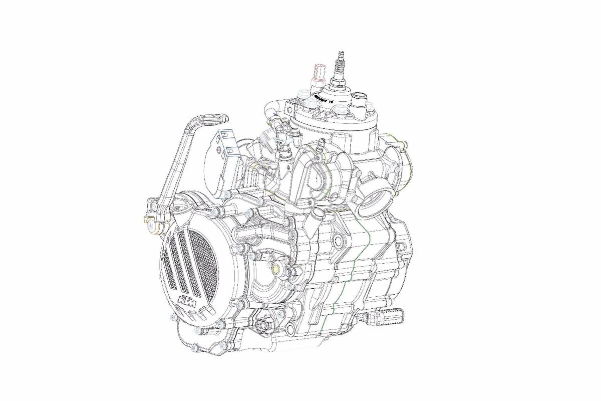 KTM has released a sketch of its new two-stroke engine for the 2018 25-0 and 300 EXC TPI Enduro motorcycles