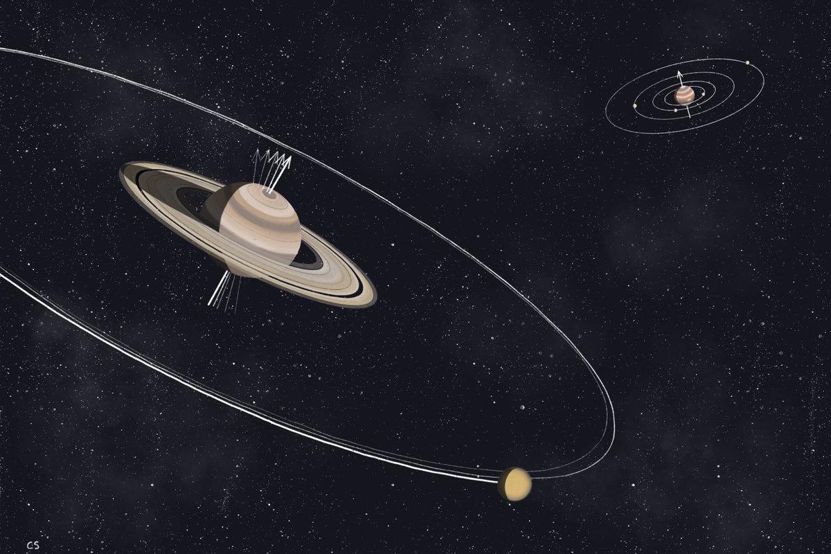 Artist's impression of the tilt of Saturn caused by orbital resonance