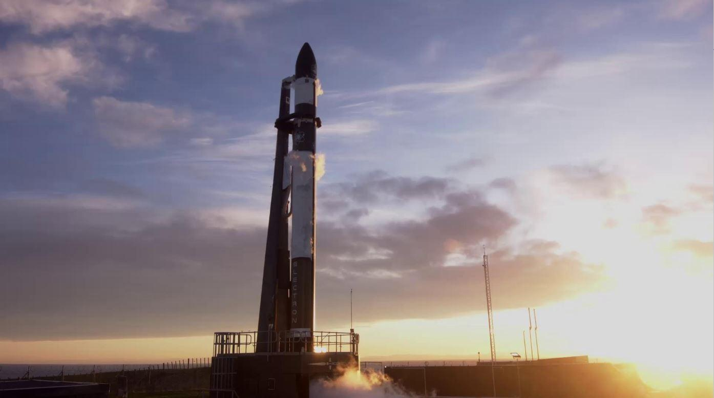Rocket Lab's Electron rocket on the pad prior to a previous launch