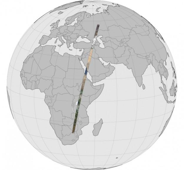Global image showing the swath of land captured by NASA's Land Data Continuity Mission as it orbited the Earth (Photo: Robert Simmon/Jesse Allen/US Geological Survey/NASA)