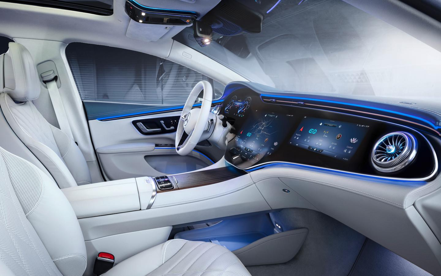 Mercedes highlighted the MBUX Hyperscreen earlier this year at CES, and the EQS becomes the first vehicle to feature it