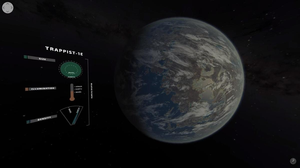 TRAPPIST-1E seen during the virtual tour of the TRAPPIST system